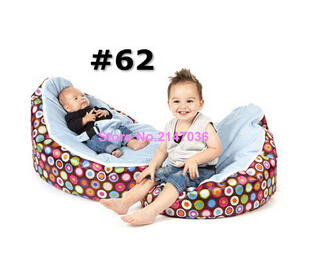 Discojelly balls with blue seat baby bean bag chair, 2 upper cover tops kids beanbag sleeping cushion, portable seat - Cover<br>