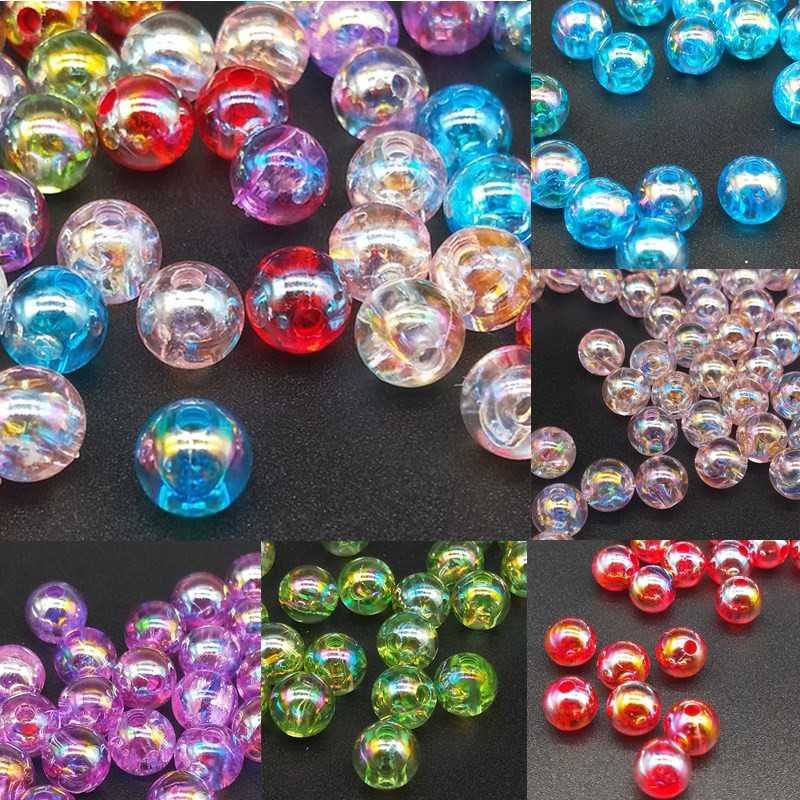 Hot 50//100Pc Acrylic Plated AB Round Loose Spacer Beads Jewelry Finding DIY 8mm