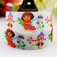 7/8'' (22mm) Dora Cartoon Character printed Grosgrain Ribbon party decoration ribbons OEM X-00811 10 Yards