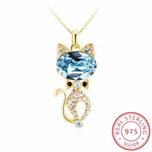 INALIS sterling silver fine jewelry Cat Necklace Silver Chain kitty Necklaces & Pendants for women girl Collares 2017 colar(China)
