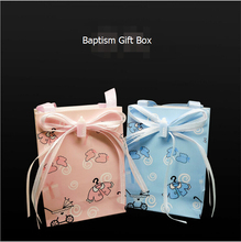 (50pcs) Lovely Candy Bag New Baby Shower Baptism Blue Pink Boy Girl Event Party Supplies Paper Accessories Guest Favors Gift Box