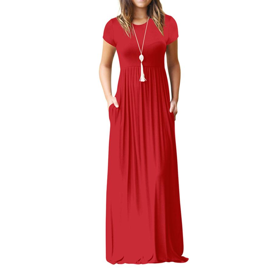 Hot Sale Floor Length Dress Women O Neck Casual Pockets Short Sleeve Loose Party Dress Vestido Longo De Festa 29