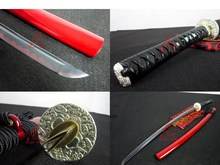 battle ready folded blade clay tempered wave tsuba japanese katana sword sharpened(China)