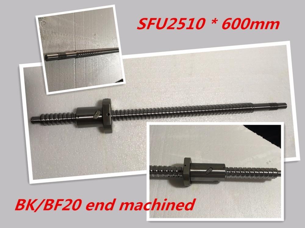 1pc 25mm Ball Screw Rolled C7 ballscrew SFU2510 600mm BK20 BF20 end processing+1pc SFU2510  Ballscrew nut<br>