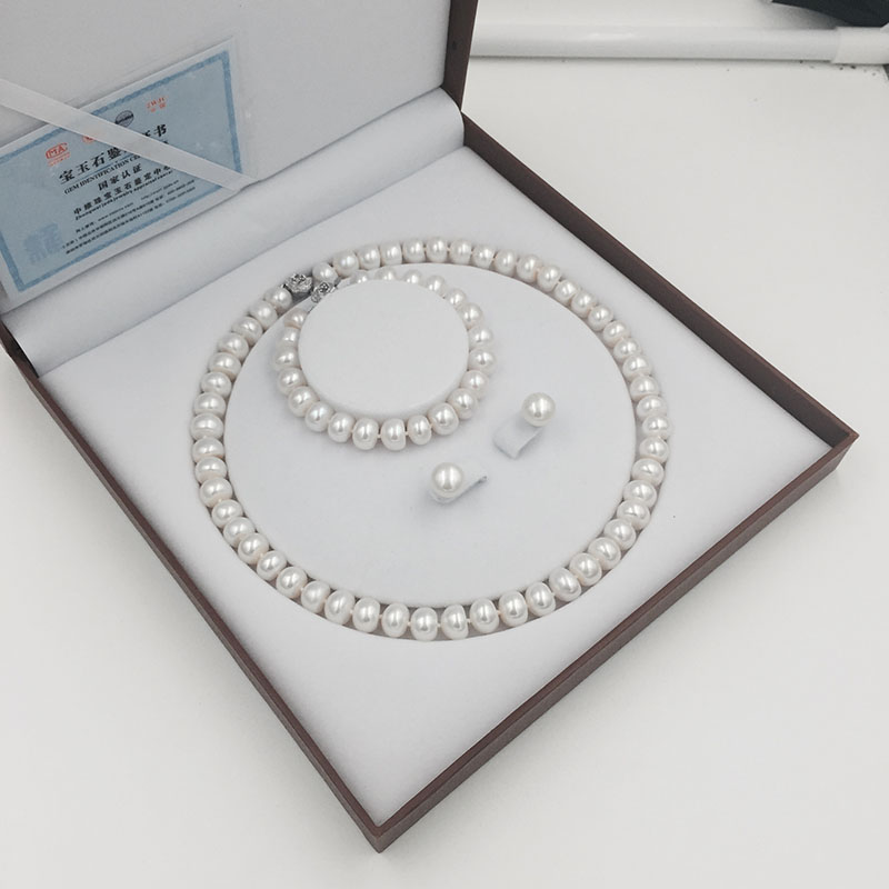 Natural freshwater pearls jewelry set with necklace earring and bracelet (13)