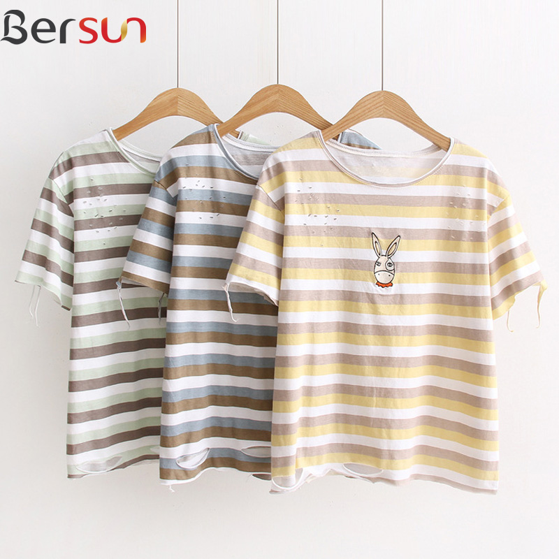 Top Summer new women's T-shirt 2017 fashion striped deer embroidered T-shirt female Retro hole cotton students T-shirt Girl(China (Mainland))
