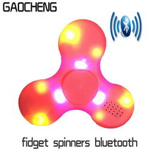 10PCS Lot Fidget Spinners Bluetooth Music Hand Spinner Fidget Toys Led Bluetooth Speakers EDC tri-spinner Glow in the dark