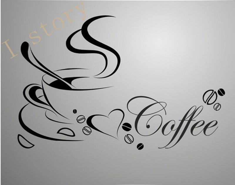 Free shipping wall stickers Coffee cup , Vinyl coffee wall art decals home kitchen decor 1