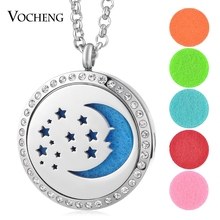 10pcs/lot Aromatherapy Diffuser Locket Necklace 316L Stainless Steel Moon Star Magnetic Crystal without Felt Pads VA-327*10