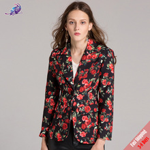 Fashion Runway Desginer Coat Women's Brand Autumn Long Sleeve Rose Floral Printed Casual Jackets office Coats Outerwear Free DHL(China)