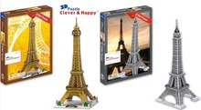 Candice guo 3D puzzle DIY toy paper building model assemble hand work game eiffel tower France Architecture birthday gift 1pc