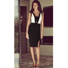 cut out Design Sleeveless Open Back Bandage dress Black White Dresses for prom party HL drop ship 2016 New Women Sexy Fashion