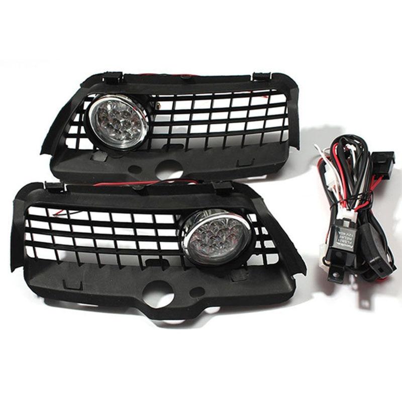 1pair 12V Super bright light LED Fog Light DRL Driving Bumper Grille For VW MK3 Golf Jetta 92-98 6000K<br>