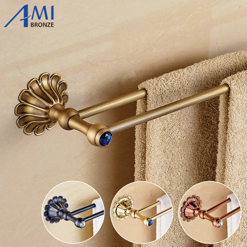 12-Petals Series Antique/Gold/Black/Rose Brass Double Towel Bar Wall Mounted Bathroom Accessories Towel Rack Towel Shelf<br>