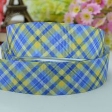 "Blue plaid crafts accessories 22mm clothing accessories birthday character printed grosgrain ribbon 50 yard 7/8"" hairbow"