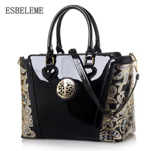 2017 top grade women PU patent leather tote handbag for female blue black large capacity ladies embroidery shoulder bag YI272