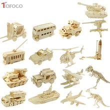 TOFOCO 17 Styles DIY 3D Wooden Puzzle Jigsaw Model Tank Missile Fighter Assembling Kits IQ Educational Toys For Children Kids(China)