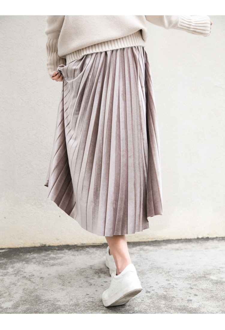 runback (Lined) Korean Style Velvet Female Khaki Blue Retro Long Skirt Mid Calf High Elasticity Pleated Skirts Women Jupe
