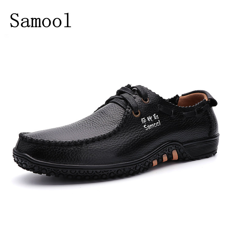 Autumn Fashion Men Shoes Genuine Leather Breathable Men Shoes Lace Up Business Footwear Casual Shoes For Mens Big Size 37-47<br>