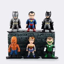 DC Super Heroes Superman Batman Wonder Woman Green Lantern Armored Batman PVC Action Figure Collection Model Toy 9cs/set Boxed