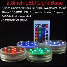 3AAA Battery Operated Remote Controlled 10 Multicolors RGB LED Vase light, 7CM Submersible Waterproof Mini Led Light for Decor