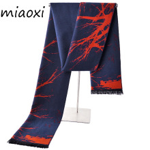 miaoxi New Fashion Men Scarves Autumn Winter Man Warm Collar Colors Tree Brushed Soft Wrap Scarf For Male Luxury Rayon Scarf