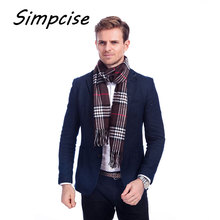 [Simpcise] Famous Brand Design New Men Warm Soft Cashmere Acrylic plaid TARTAN SCARF Checked Scarf Coffee A3A17538(China)