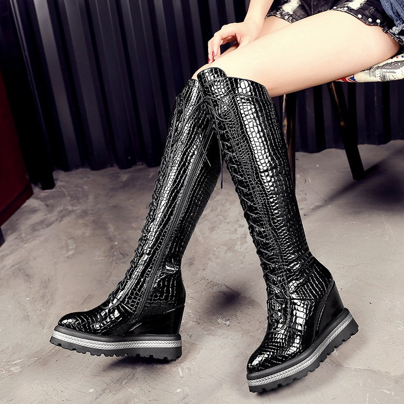 Thick Crust Creepers Slope Heels Black Embossed Cowhide Round Toe Crossed Lace-up Knee High Boots 2016 Winter New Women Shoes<br><br>Aliexpress