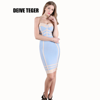 DEIVE TEGER Newest arrival 2017 spring summer sky blue&pink elegant Bandage Dress Women Sexy Fashion Party Mini Dress HL2294