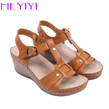 HEYIYI Women Casual Sandals Lightweight Platform Wedge Heel Sewing T-strap Comfortable Soft Insole Women Shoes Free Shipping