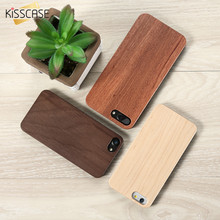 KISSCASE Real Wooden Case For iPhone 6 6s 5 5s SE 7 Plus Bamboo Wood + Hard PC Edge Cover For Samsung Galaxy S7 S7 Edge Coque