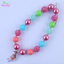 Fashion Power Jewelry Charms Necklace Chunky Bubblegum Beaded Alloy Character Pendant Necklaces Jewelry For Kids Christmas Gift(China)