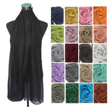 Plain Solid Color Glitter Bling Bling Scarf Women's Scarf Muslim Hijab Shawl Head Wrap, Free Shipping(China)