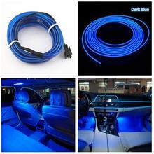 Car-styling 2M 12V EL Wire BLUE Cold light lamp Neon Lamp Car Atmosphere Lights Unique Decor jn28(China)