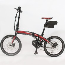 Free Shipping Folding Electric Bicycle 48V 350W 8FUN Bafang Mid Drive Motor Foldable Ebike+48V 12AH Li-ion Seatpost Battery(China)