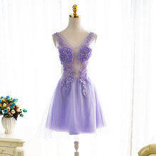 Short Lavender Cocktail Dresses Cheap Free Shipping Vestido De Festa A line Cocktail Dress Rob De Soirre Applique Cocktail Gown