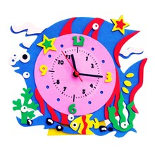 2017 New Baby Children Educational Kids Early Learning Toy DIY Alarm Clock EVA Puzzle Toys(China)