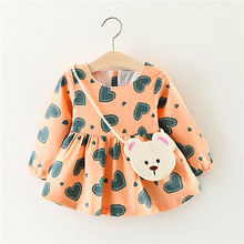 autumn new kid baby girls tutu dress long sleeves love heart shape print princess infant newborn baby girl dress autumn cloth(China)