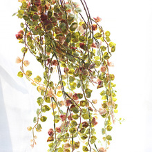60CM Hanging Long Vine Plant Artificial Green Plant Money Leaves Bouquet Flower Basket Accessories Home Wall Balcony Decoration(China)