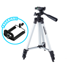 Universal Aluminum Portable Lightweight Tripod Travel Stand for Camera Camcorder With Carrying Bag and Cellphone Bracket
