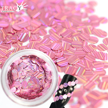 1 box 2mm Sweet Pink Colors Glitter Sequin 3D Nail Art Glitter Dust Sheets Tips Ultra-thin Stripe Line Shape Nail Sparkly TRTW11