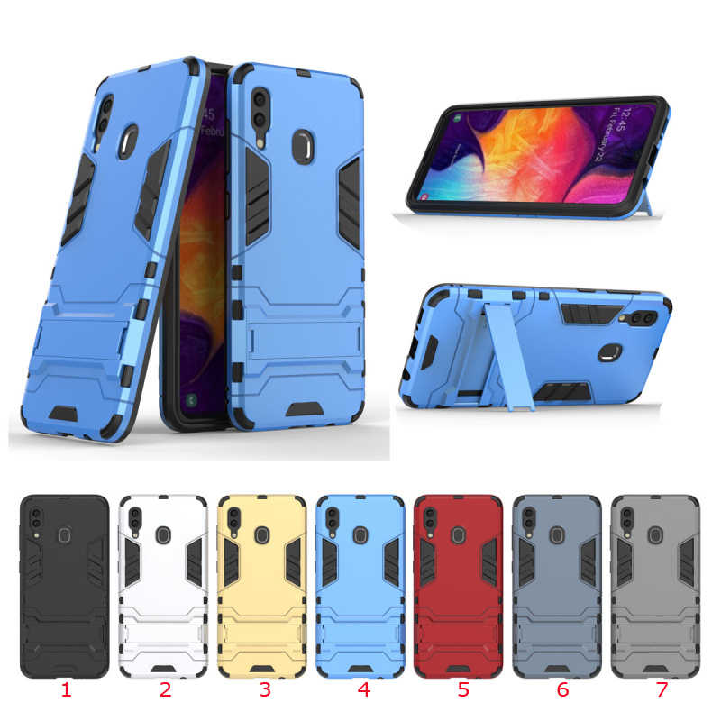 150pcs/lot For Galaxy A30 A50 M10 Dual layer Srong Armour Tough Rugged Shield Hard Case Stand For Samsung Galaxy S10 5G Version