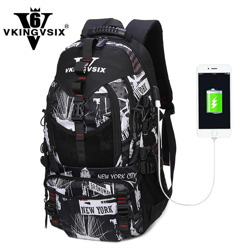VKINGVSIXV6 school bags for teenagers Printing backpack USB Travel Waterproof laptop backpacks computer mochila schoolbags<br>