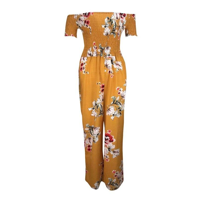Woman Summer Jumpsuit 2018 New Elegant Off Shoulder Sexy Strapless Floral Print High Waist Jumpsuits Playsuits Wholesale #L09 (14)