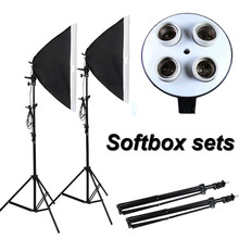 Photographic Equipment Photo Studio Soft Box Kit Video Four-capped lamp Holder Lighting+50*70cm Softbox+2m light stand photo box(China)