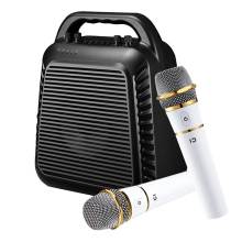 100 Watts Peak Power Portable Rechargeable PA system with 2 UHF Wireless Microphones Voice Amplifier for KARAOKE/ PICNIC/ PARTY(China)