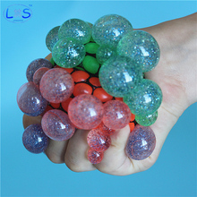 (LONSUN)Funny 6.5cm Stress Ball Novetly Print Squeeze Ball Hand Wrist Exercise Toy Balls For Two Tone Crystal Grape Shape(China)