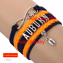 6Pcs/Lot AUBURN FOOTBALL Infinity Bracelet NAVY/ORANGE Make Your Own Design Free Shipping  #1349