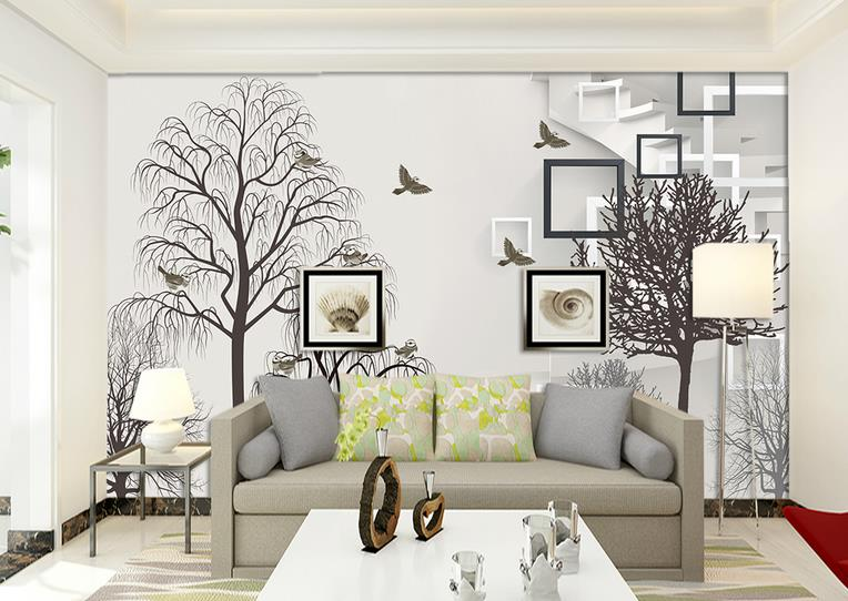 3D Wallpaper For Walls Custom Wall Mural Non-woven Wall Paper Black and white simple tree Living Room Backdrop Home Decor<br>