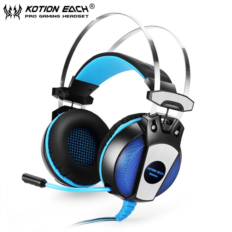 10pcs LED Headphones for PC KOTION EACH GS500 3.5mm Game Earphone Metal Headband with Mic Stereo Bass for Laptop Mobile Phones<br><br>Aliexpress